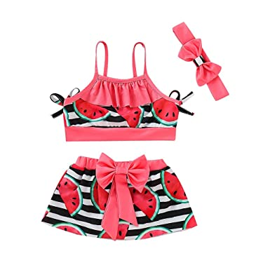 d94f4999 Baby Girl 3-Piece Swimsuit, Watermelon Bikini Set Flounce Top + Mini Dress+