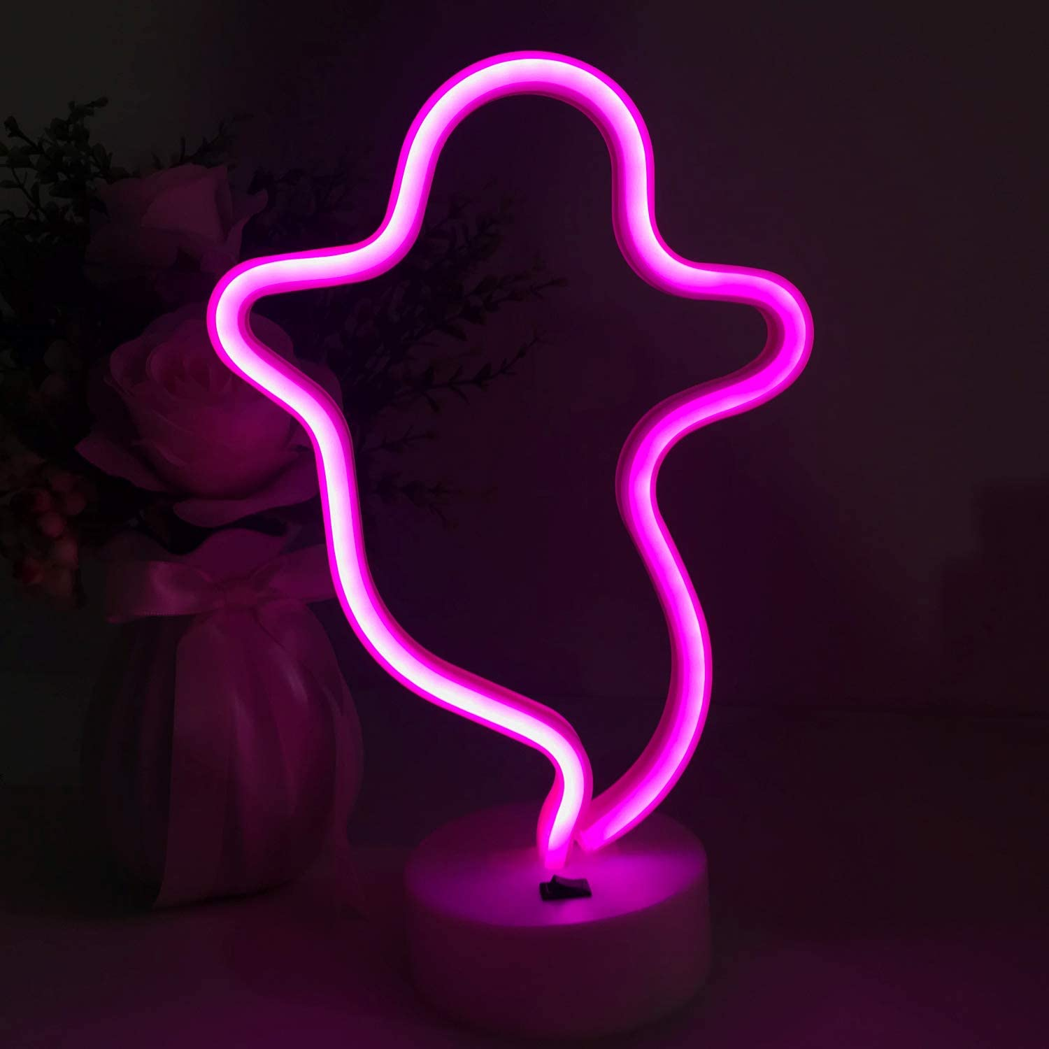 Ghost Shaped Halloween Decoration LED Neon Sign Light. Indoor Night Table Lamp with Battery or USB Powered for Party, Living Room, Family Room, Kids Room, Wedding, Home Decoration. (Pink Ghost)