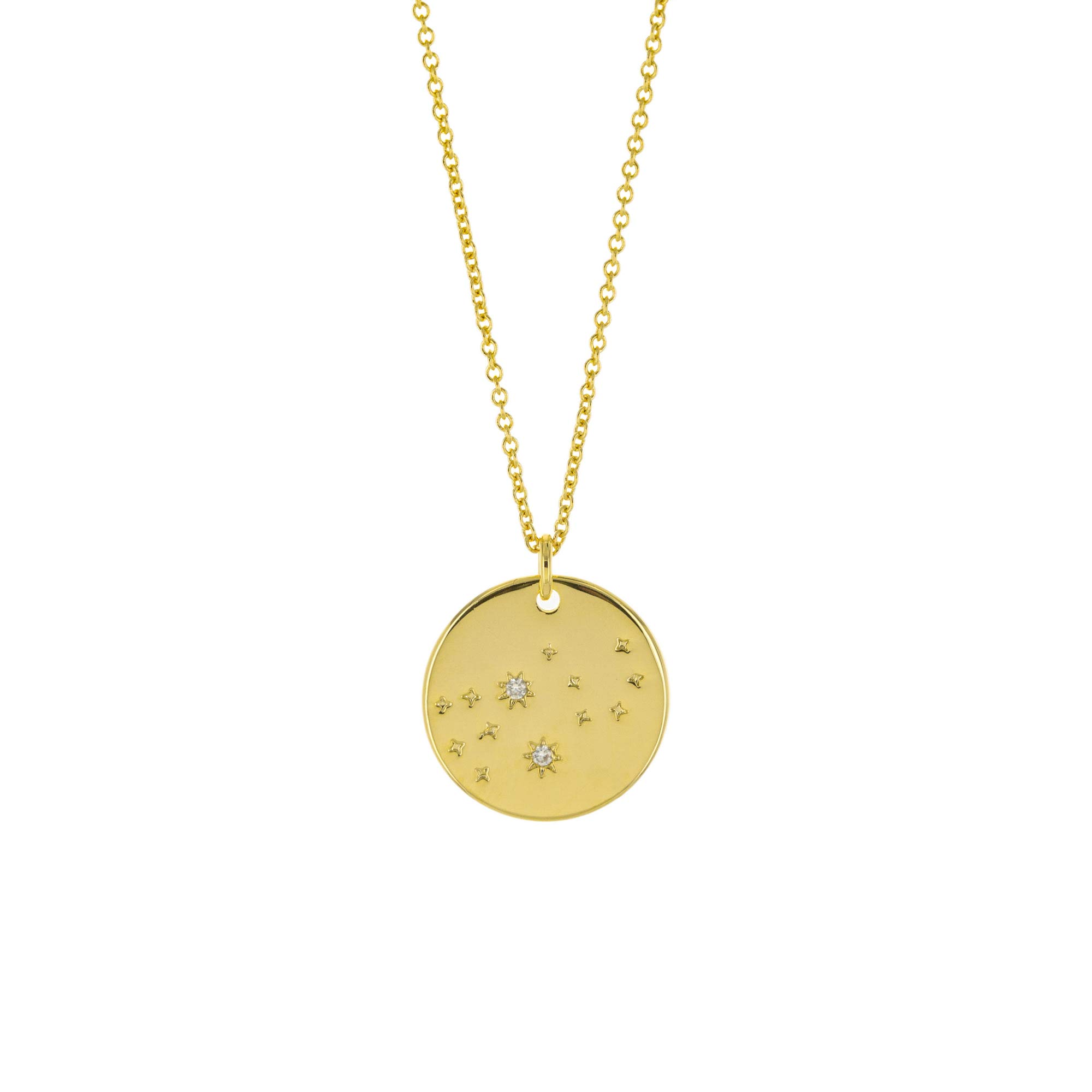 Columbus 14K Gold Plated Astrology Horoscope Constellation Zodiac Coin Necklace (Virgo)
