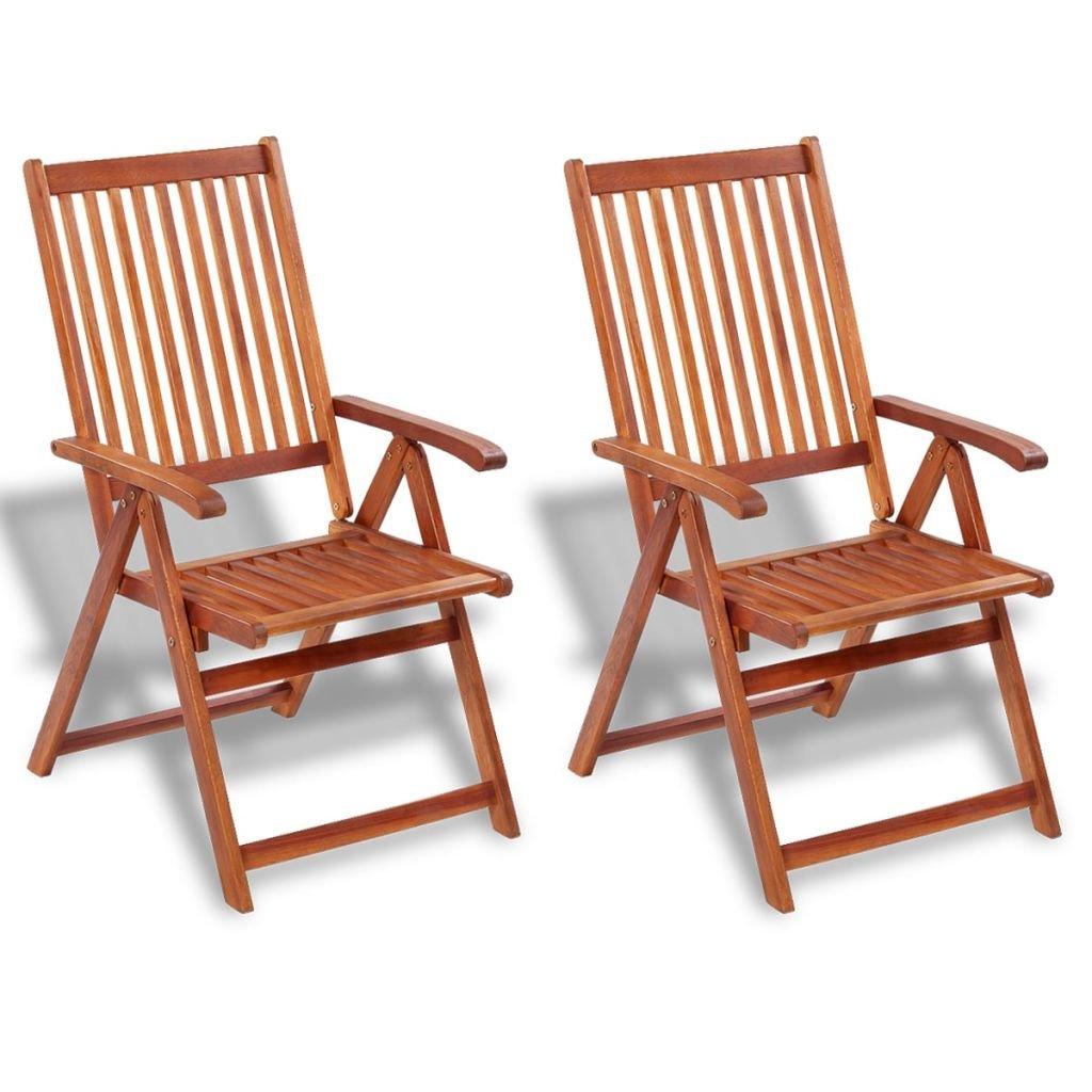 vidaXL Set 2 pz Sedie da esterno in legno di acacia