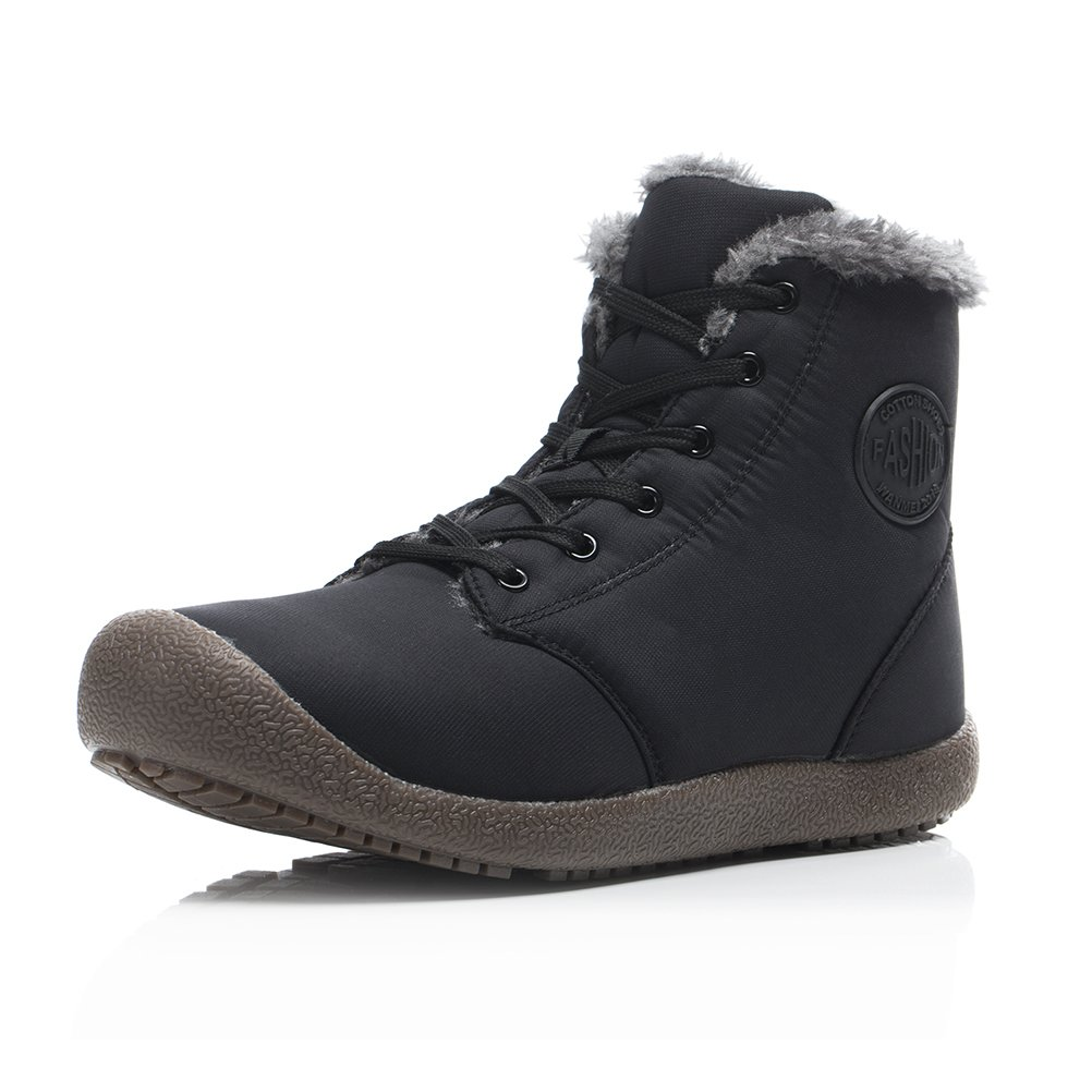 Dannto Snow Boots High Top Waterproof Outdoor Fur Lined Winter Warm Shoes Ankle Booties for Men Women(Black,44) by Dannto (Image #2)