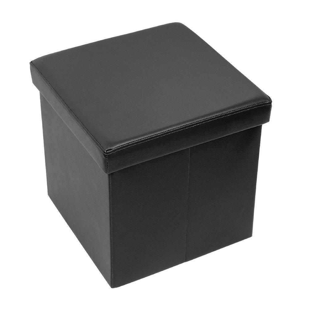 Amoiu 15'' x 15''x 15'' Folding Storage Ottoman Cube Foot Rest Stool Seat Coffee Table - Faux leather, Black