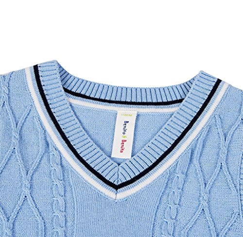Benito & Benita Sweater Vest School Vest V-Neck Uniforms Cotton Cable-Knit Pullover for Boys/Girls 2-12Y Light Blue by Benito & Benita (Image #2)