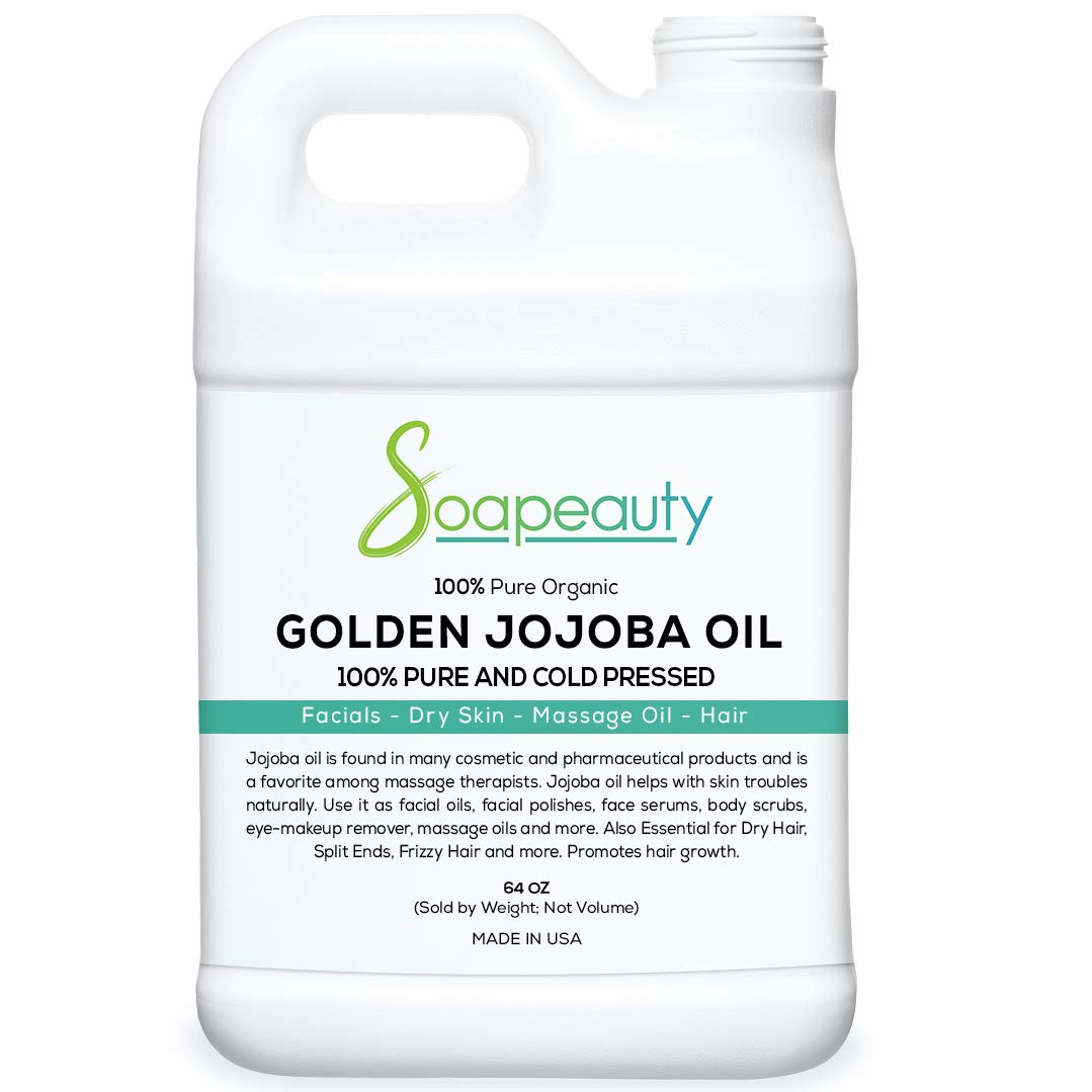 JOJOBA OIL Organic Cold Pressed Unrefined | 100% Pure Natural Golden Jojoba Oil | Carrier for Essential Oils, Moisturizer for Skin, Face & Hair, Massage, Soap Making | Sizes 4OZ to 1 GALLON | (64 OZ)
