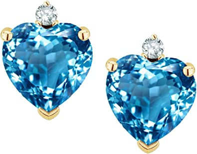 Sapphire Hearts Stud Earrings Solid 9 Carat Yellow Gold Studs Natural Stones