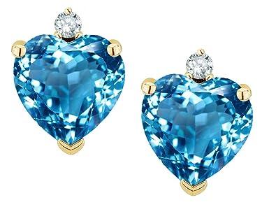 6fdc4d1f1 Amazon.com: Star K Heart Shape Genuine Blue Topaz Earrings Studs 14 ...