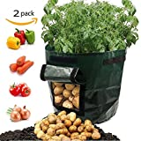 Cheap Potato Grow Bags, Durable 2 Pack 7 Gallon Potato Planter with Access Flap, Raised Garden Bed for Planting Vegetables, Taro, Radish, Carrots, Onions
