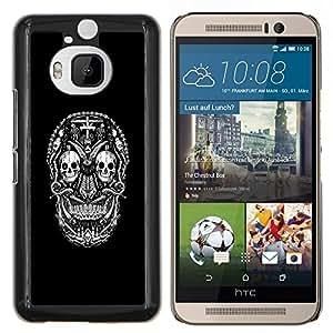 EJOOY---Cubierta de la caja de protección para la piel dura ** HTC One M9Plus M9+ M9 Plus ** --Goth oscuro CRÁNEO DEL AZÚCAR
