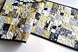 Bohemian Patchwork Quilted Table Runner in Blue and Yellow
