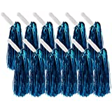 Juvale Cheerleader Pom Poms – 12 Pack Metallic Cheerleading Pom with Handles for Cheering Squads, Party Costume, Holiday Celebration, Stage Performance, and Sports, Blue, 12.5 x 3 x 3 Inches