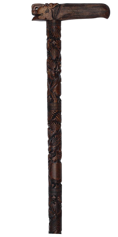 SouvNear 91 cm décoratif Canne/Stick en bois sculpté à la main brun foncé avec de à découper Éléphant à la poignée et différents animaux à la
