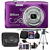 Nikon COOLPIX A10 16.1MP Compact Digital Camera (Purple) with 32GB Accessory Kit