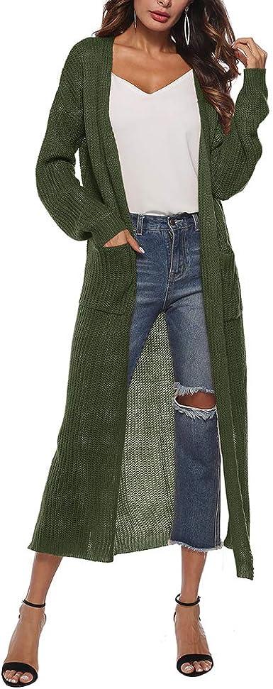 Women Split Knit Slim Cardigan Maxi Long Sleeve Loose Asymmetric Open Front Cardigan Women Sweaters with Pocket