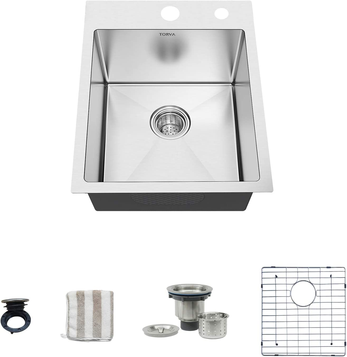 TORVA 15-Inch Drop-in Kitchen Sink, 16 Gauge Stainless Steel Topmount Single Bowl - 10 Inches Deep Bar/Prep Basin