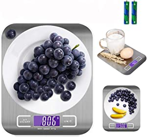 Stainless Steel Digital Kitchen Scale with LCD Display, 3g-5 kg, Batteries Included