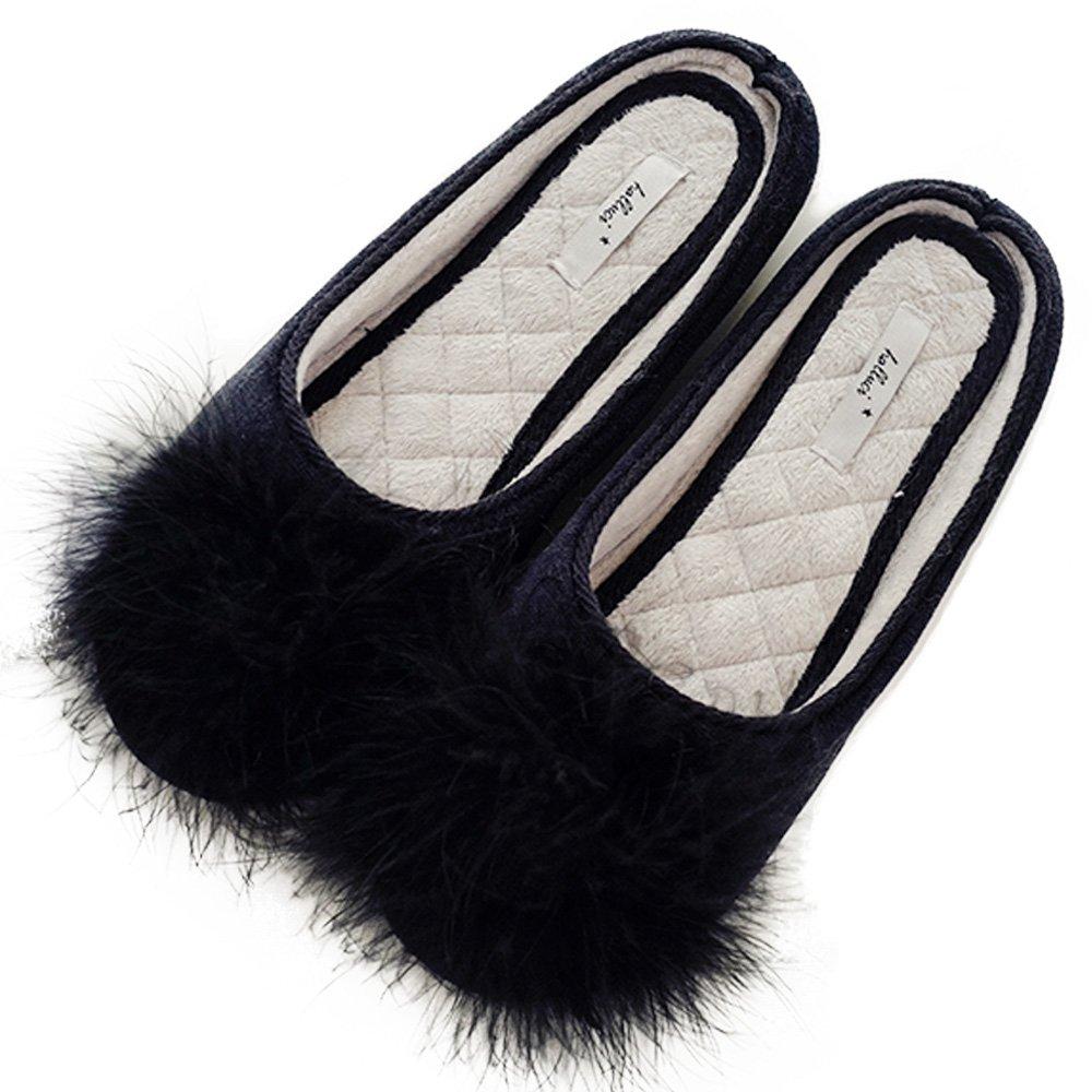 HALLUCI Women's Cozy Velvet Memory Foam House Slippers w/Non Slip Soles (7-8 B(M) US, Black)