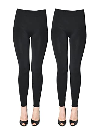 2bea653382f9f K. Bell Women's 2 Pack Soft and Warm Fleece Lined Leggings at Amazon  Women's Clothing store: