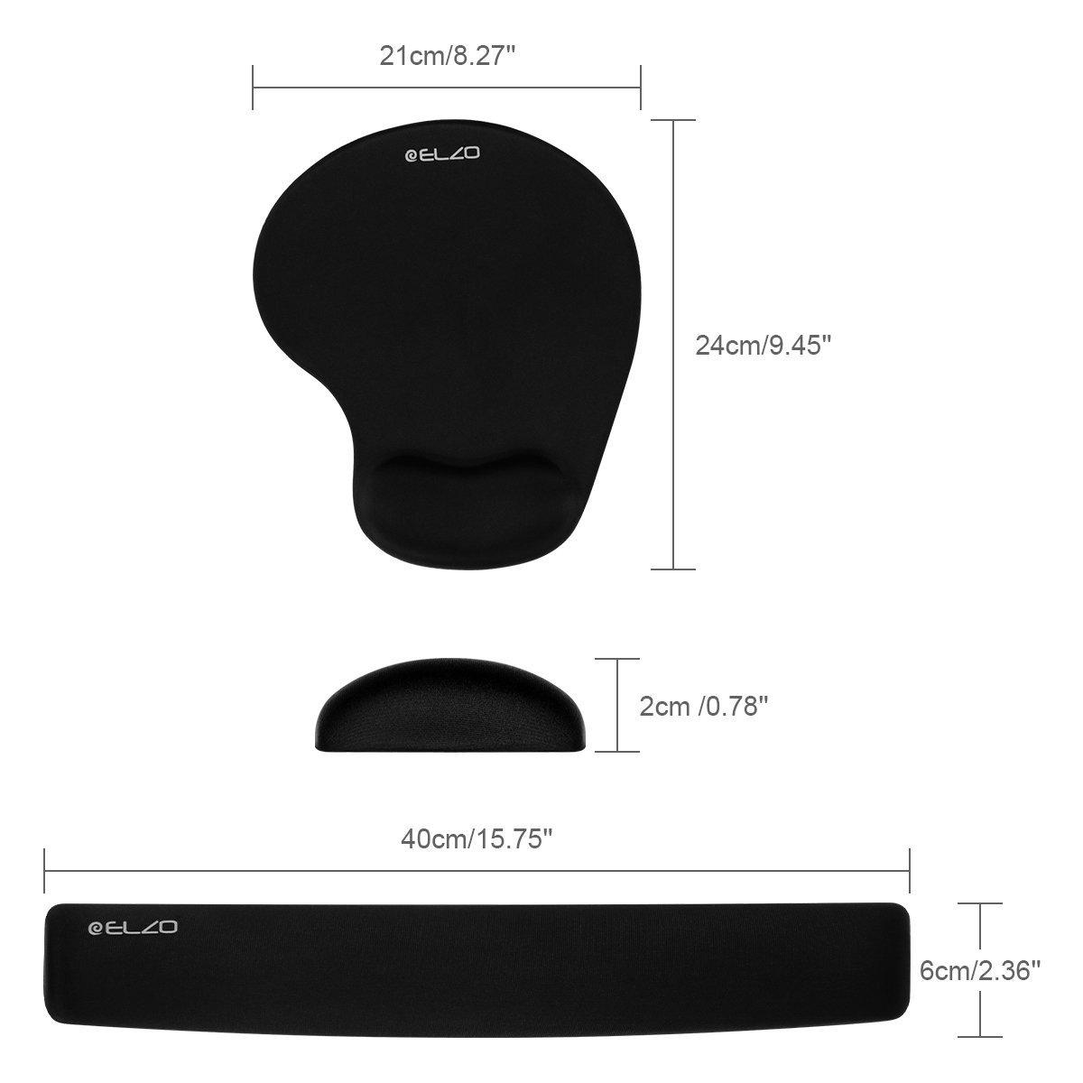 Color Negro ELZO Reposamu/ñecas de Gel Crystals para Teclado Ergon/ómico Coj/ín de Mu/ñeca Apoyo con Espuma de Gel para Ordenador//Notebook//Laptop