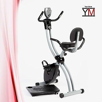 YM Bicicleta estática ciclette X-Bike Cardio Fitness Salvaspazio Plegable Puerta PC