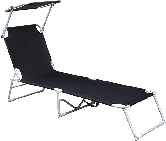TecTake Set of 4 Outdoor folding aluminum garden sun lounger with sunshade 4x Beige   No. 401552