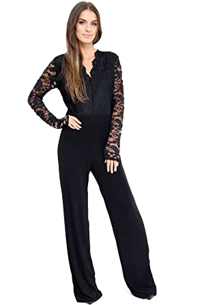 Comfiestyle New Women s Plus Size Evening Party Playsuit Ladies Lace Long  Sleeve Jumpsuit. UK 16-24  Amazon.co.uk  Clothing 6f34278ee4ef