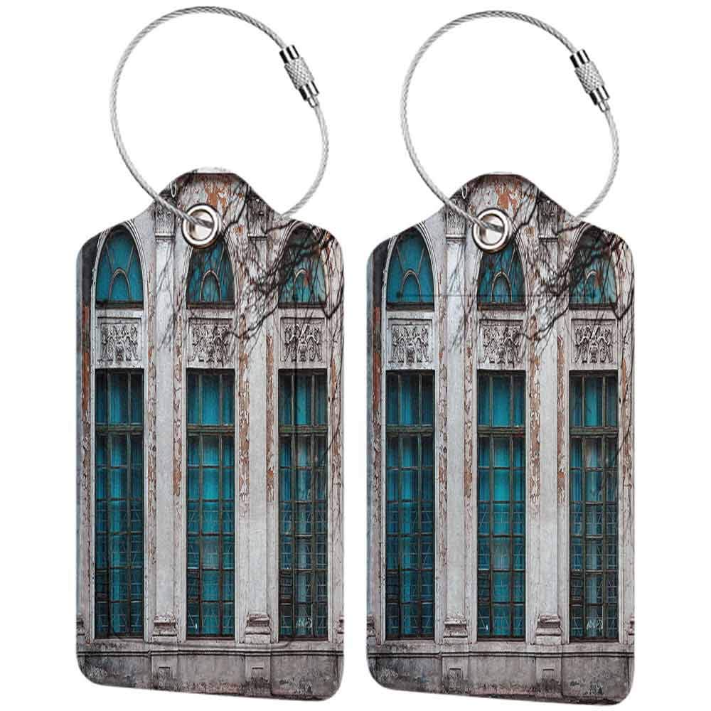 Waterproof luggage tag Street Decor Apartment with Windows Mansion like Scenery with Ivy and Brick Stones Photo Soft to the touch Multicolor W2.7 x L4.6
