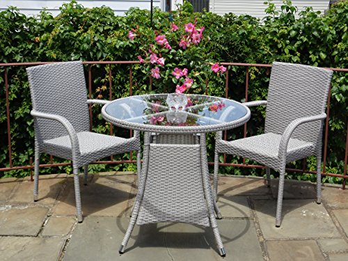 3 Pc Patio Resin Outdoor Wicker Dining Set. Round Table w/Glass 2 Arm Chairs Gray Color (Resin Wicker Patio Furniture Winter)