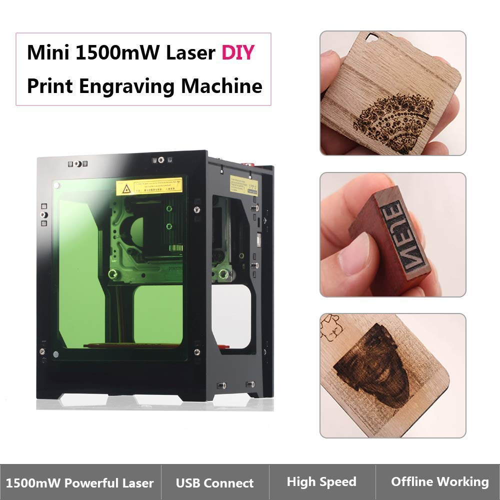 Laser Engraver Printer, 1500mW DIY USB Mini Engraving Machine, CNC Router Cutting Carver Off-line Operation for Art Craft Science, High Speed Laser Engraving Cutter by Tsemy (Image #3)