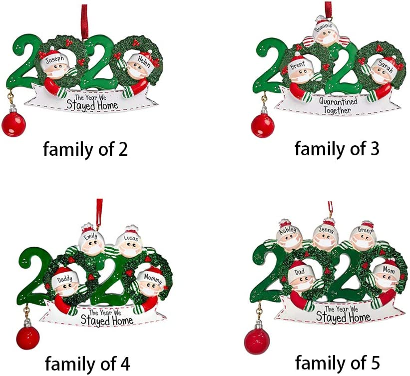 B family of 2 JUSTBUY 2020 Quarantine Christmas Tree Decoration Gift Personalized Hanging Ornament Social Distancing Santa Claus with Mask Toilet Paper Roll