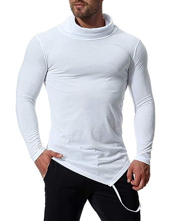 T-Shirt Homme Col Roulé Manche Longue Slim Fit Irrégulier Basic Uni Tee- Shirt 8a56fa7737e