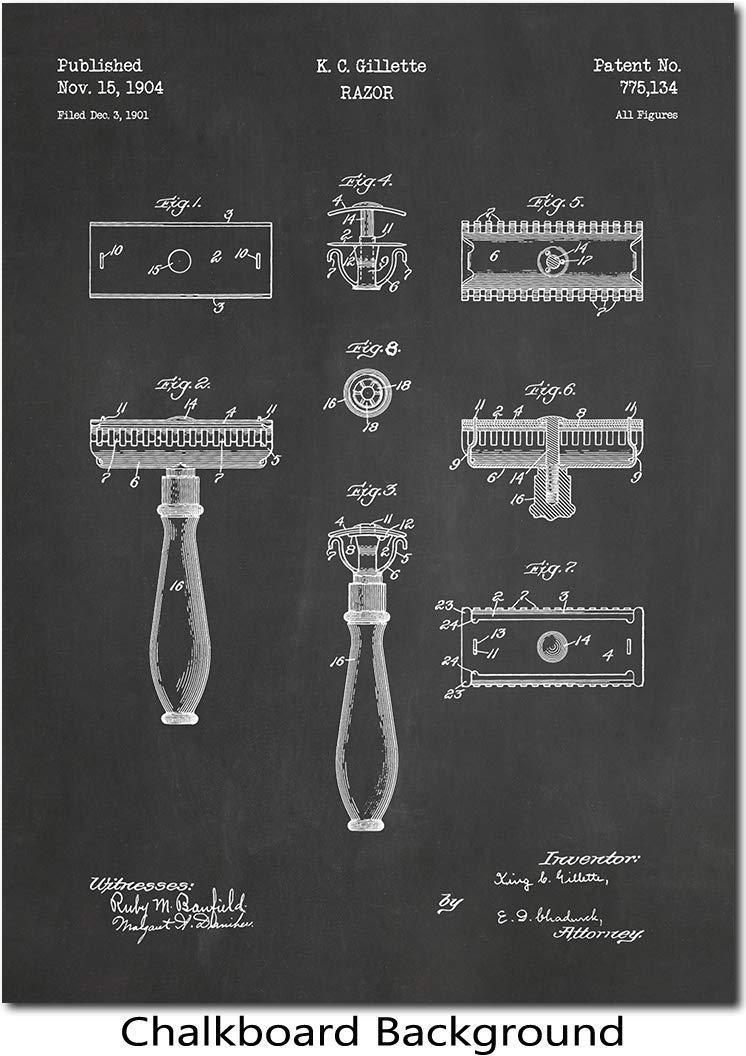 Gillette Razor Patent Print Chalkboard