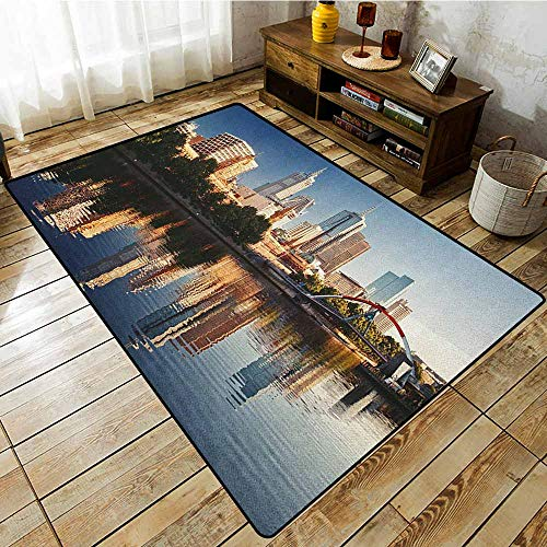 Living Room Area Rug,City,Idyllic View of Yarra River Melbourne Australia Architecture Tourism,for Outdoor and Indoor Dark Blue Ivory Dark Green (Australia Furniture Outdoor Bamboo)