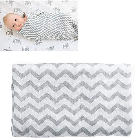 Manta G-Tree muselina del bebé, suave muselina toalla de baño de algodón de doble capa recién nacido de empañar la manta del bebé Wrap Toalla (franja): Amazon.es: Bebé