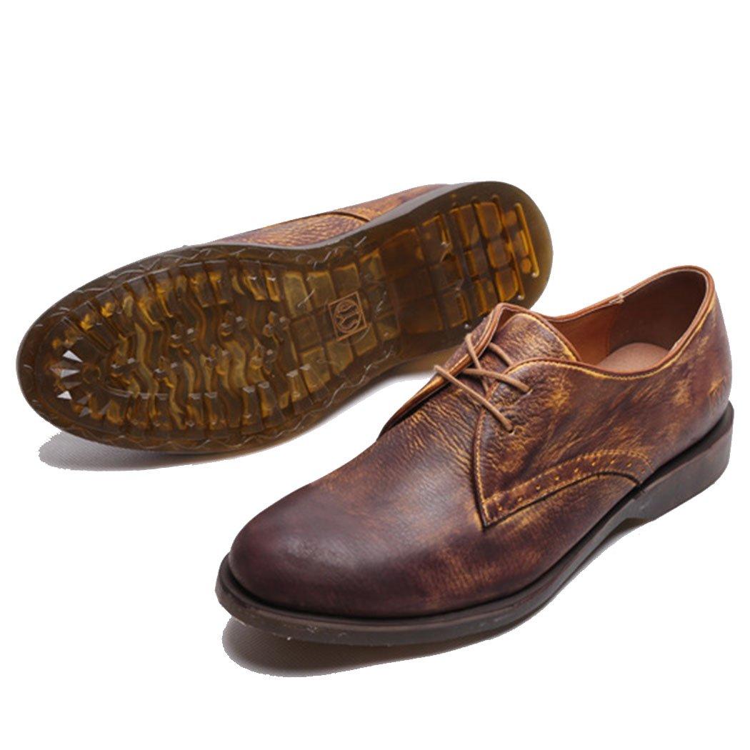 GAOLIXIA Herren Echtleder Freizeitschuhe British Retro Casual Schuhe weichen Up Boden Lace Up weichen Arbeit Freizeitschuhe braun f01b09