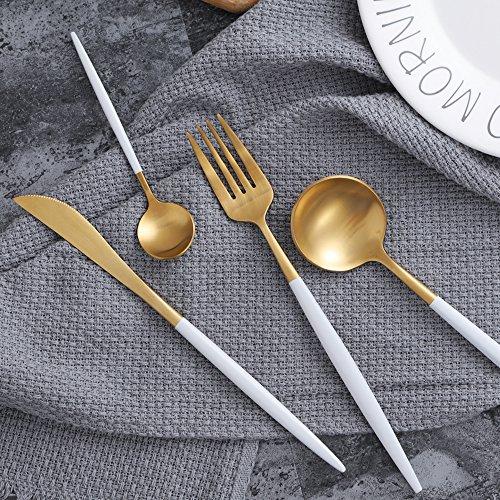 Awareisn Silverware 4 Piece Stainless Steel Flatware Set Including Fork Spoons Knife Tableware (White+Golden)