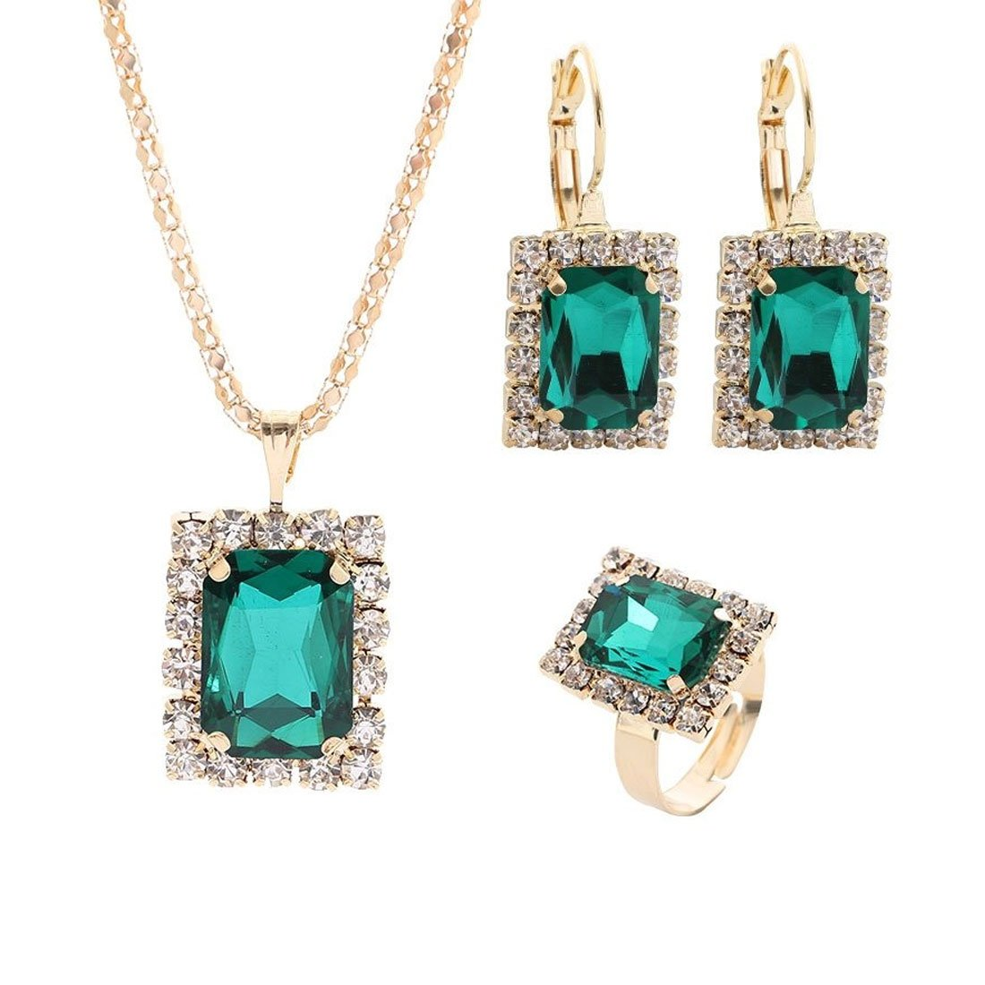 NOVADAB Gorgeous Topaz Carved Glass 3 Piece Set For Women (Green)