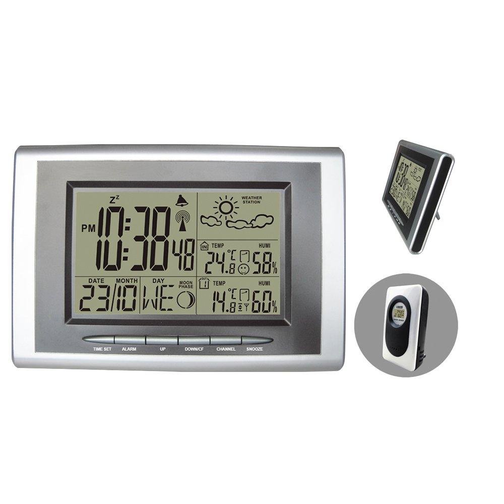 Digital Wireless RCC RF Wetterstation mit Innen Außen-Thermometer-Hygrometer Atomic Alarm-Taktgeber sdf2234