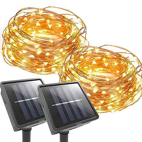 COOPE Outdoor String Lights 100 LED Solar Christmas lighting Decorative Light - Patio - Deck - Party - Christmas Tree - Provide Christmas Fairy Decorative Light(2 Pack)(33 FT)
