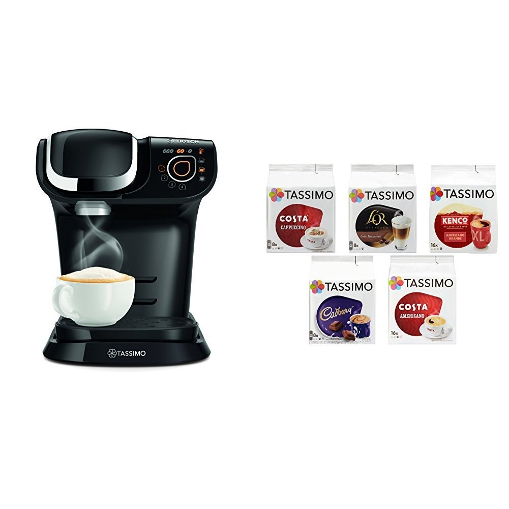 Bosch Tassimo My Way Coffee Machine Bundle with Tassimo Variety Box - Pack of 5 (56 Servings)