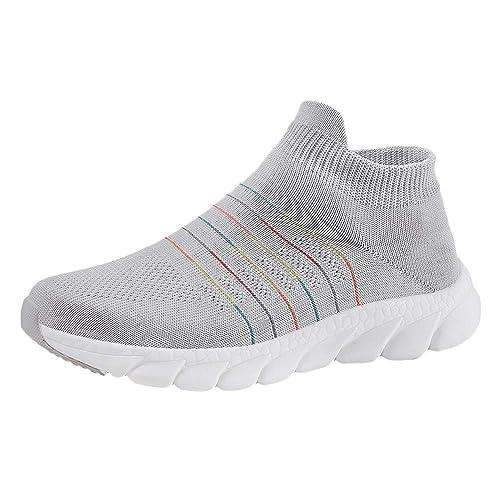 LHWY Zapatillas Mocasines de Deportes Zapatillas de Deporte para Adultos al Aire Libre Zapatillas Mujer Calcetines Zapatos de Malla Transpirable: Amazon.es: ...