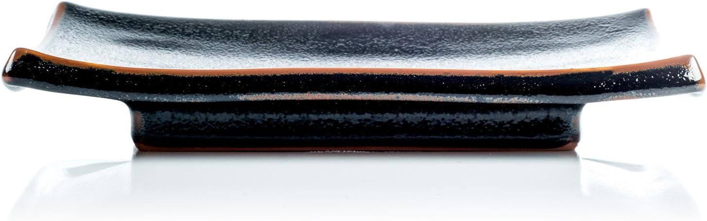 Japanische Sushi-Platte Mit Schwarzer Tenmoku Glasur