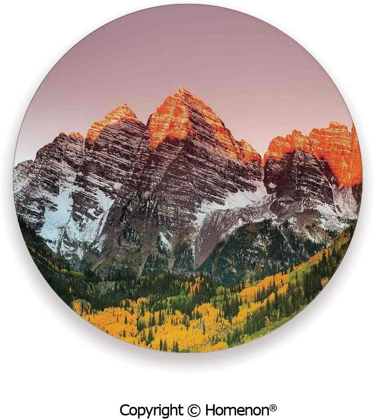 Scenic Western American Mountains on the Valley with Snowy Peaks at Sunset Time Landscape,Absorbent Coaster For Drinks Multi,3.9×0.2inches(6PCS),Make Your Home Decor Style