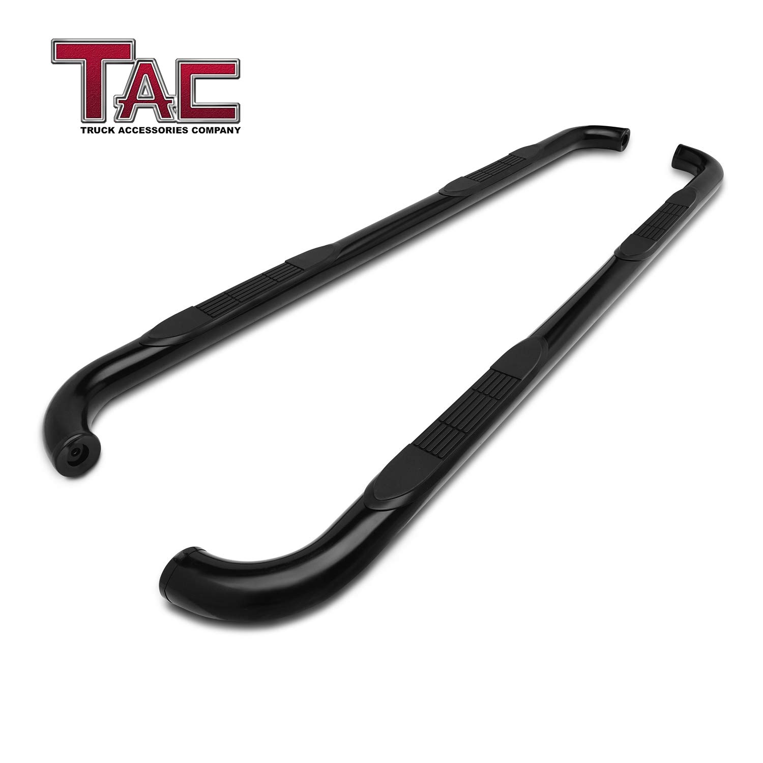 TAC Side Steps Running Boards Fit 2019 Chevy Silverado 1500 Double Cab / 2019 GMC Sierra 1500 Double Cab Truck Pickup 3'' Black Side Bars Step Rails Nerf Bars Off Road Accessories 2 pcs