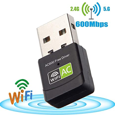 KuWFi - Adaptador WiFi USB inalámbrico de 600 Mbps, Doble ...