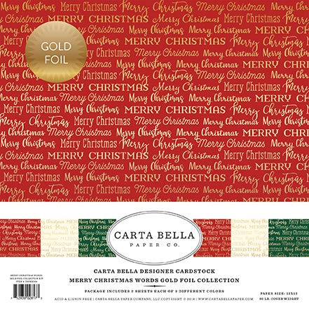 Merry Christmas Collection - Carta Bella Paper Company CBFME004 Merry Christmas Words Gold Foil Collection Kit Paper, red, Green, Navy