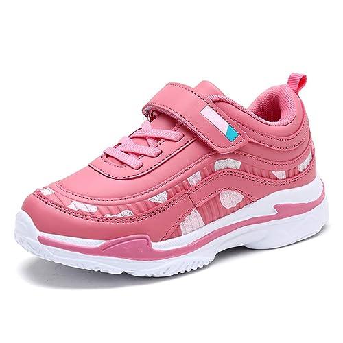 6f66efbc597c2 Zapatillas de Deporte para niñas Zapatillas con Velcro Calzado Deportivo  para niños al Aire Libre Suela Gruesa Zapatillas de Color Rosa para Caminar  Casual  ...