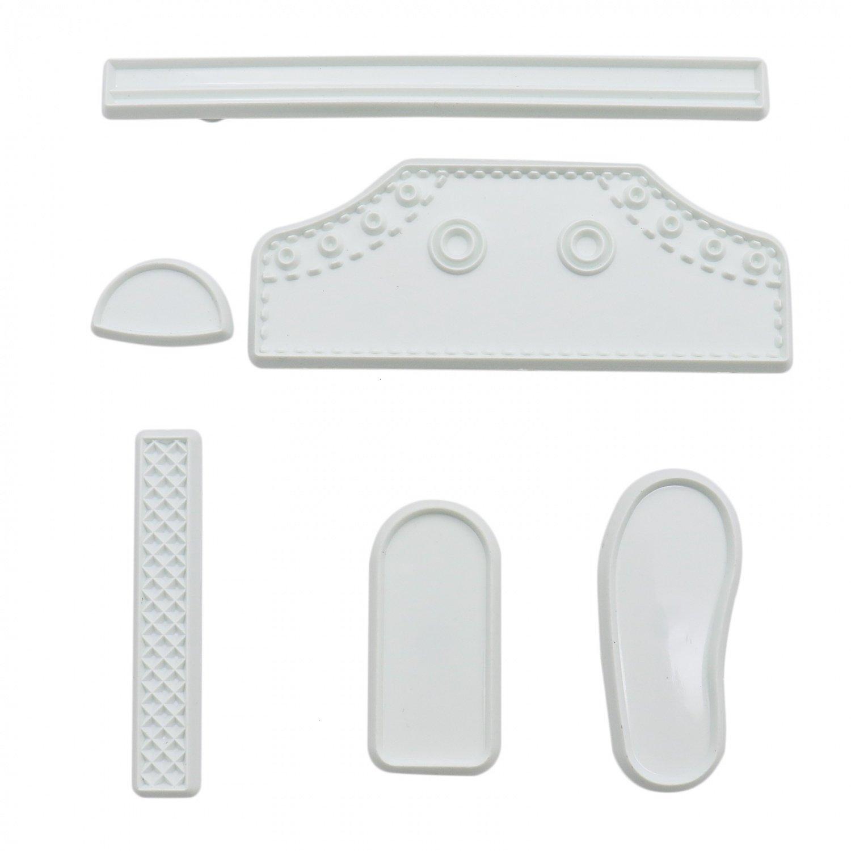 Rugjut Plastic Baby Shoe Shape Fondant Cutting Cake Mold Tools for DIY Cake Sugar Craft Decorating, Set of 6pcs