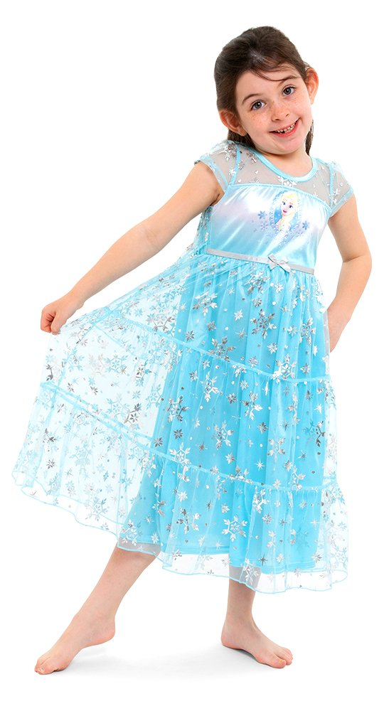 Disney Little Girls' Fantasy Nightgowns, Frozen Elsa Snowy Cerulean, 4