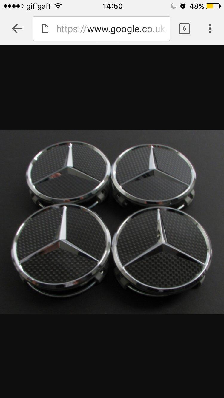 Juego de 4 tapacubos modelo4 x Mercedes Benz Negro/Plata, de fibra de carbono, rueda centro Caps Set 75 mm – para Mercedes Clase aA B C E S SL clase AMG: ...