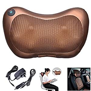 Yescom Electric Shiatsu Massage Pillow Cushion Heated Kneading Neck Back Massager Home Car Office Use Brown